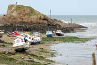 Boats beached at Bude in North Cornwall