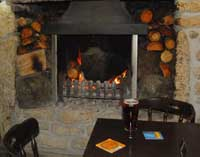 Open fire at The Old Inn at St Breward