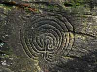 Rock carvings at Rocky Valley near Tintagel
